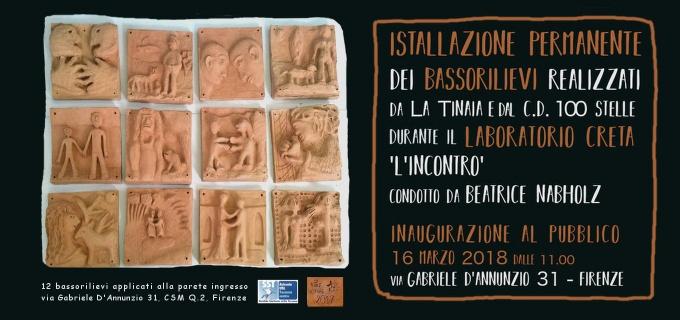 BASSORILIEVI IN TERRACOTTA sulla parete del CSM Q2 Firenze